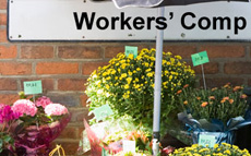 Photo of a small flower business with a workers' comp sign